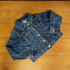 Toddlers children place cropped blue jean jacket